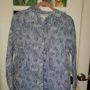 KIM RODGERS Blue Button Down Shirt Size S